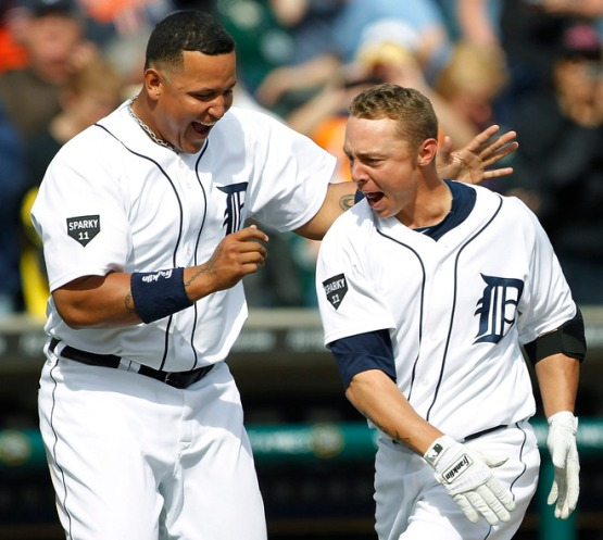 Inge (right) celebrates walkoff homer with Miguel Cabrera (Getty Images)