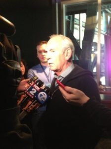 Jim Leyland talks with reporters at TigerFest